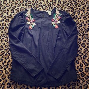 H&M embellished collar top